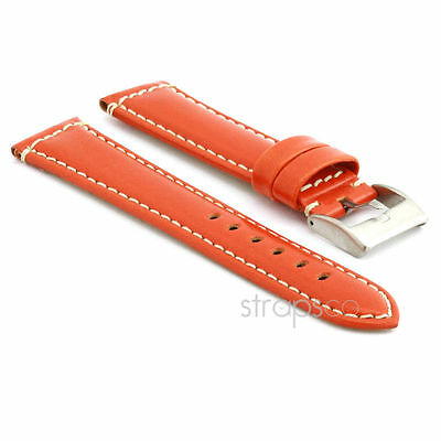 StrapsCo Smooth Leather Watch Band Strap in Orange w/ Stainless Buckle