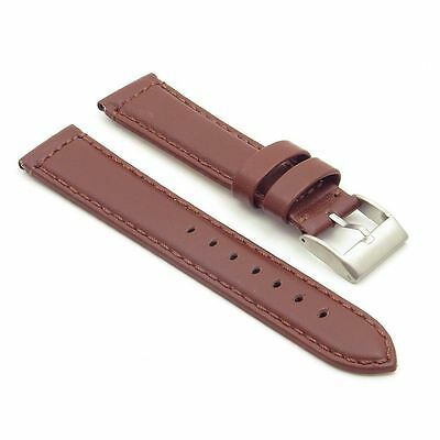StrapsCo Smooth Leather Watch Band Strap in Pecan w/ Stainless Buckle
