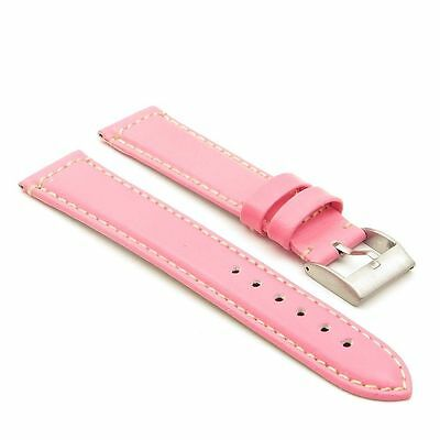 StrapsCo Smooth Leather Watch Band Strap in Pink w/ Stainless Buckle