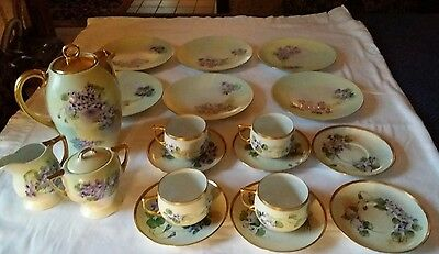 Antique porcelain tea/cocoa set: limoges, thomas sevres, mz austria, silesia.