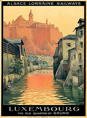 Luxembourg The Old Quarter of Grund Vintage Travel Advertisement Art Poster