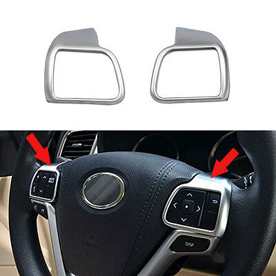 ABS Matte Steering Wheel Cover Trim 2pcs For Toyota Highlander 2014 2015