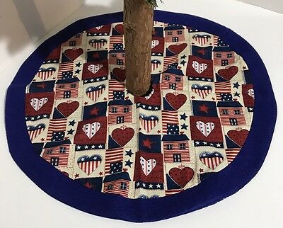 "Patriotic / Fourth Of July Tree Skirt – 20"" - Hearts & Homes - Custom-Made"