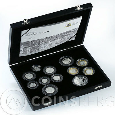United Kingdom set of 12 coins of silver  proof coins 2009