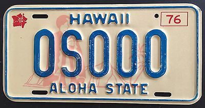 1976 Hawaii Authentic license plate mint hibiscus King Kam Sample plate 0S000