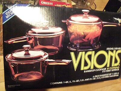 Corning Visions Non-Stick 6 Piece Amber Glass Cookware Set - New In Sealed Box