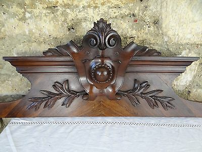 """38"" French Antique Pediment architectural Crown Rosewood -   Wood Crest"