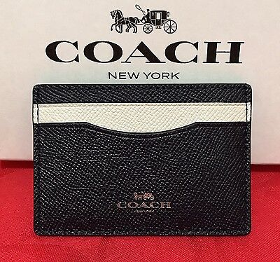 NEW Coach Colorblock Crossgrain Leather Card Case/Holder Midnight/Chalk F86927