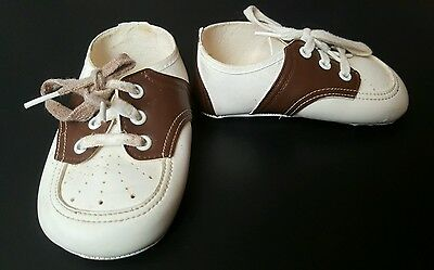 Vtg White Brown Faux-Leather OXFORD SADDLE Dressy Baby Toddler SHOES w Laces 70s