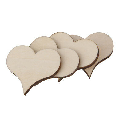 50Pcs Wooden Shapes Unfinished Heart Embellishments for Wedding Craft 30x3mm