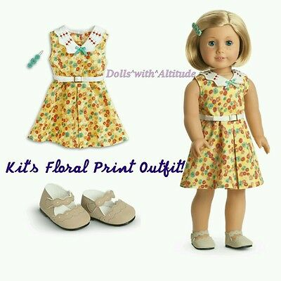 NEW IN BOX American Girl KIT'S FLORAL PRINT DRESS OUTFIT with Shoes & Barrette