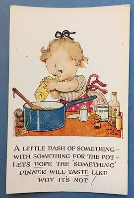 Mabel Lucie Attwell Postcard - A Little Dash of Something - Artist Signed
