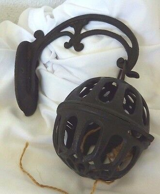 Cast Iron Antique Twine Holder Ball with Wall Mount Hanger Hard to Find 1880