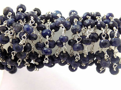 5 Feet Dyed Blue Sapphire Faceted 925 Silver Plated Rosary Beaded Chain 3.5-4mm