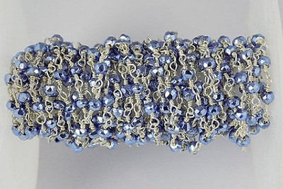5 Feet Tanzanite Pyrite Faceted 3-4mm 925 Silver Plated Rosary Beaded Chain