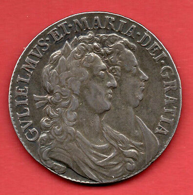 1689 Silver Halfcrown Coin.  William Iii & Mary Ii Half Crown, Lovely Condition