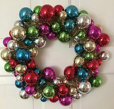 """Multi-Color Ball Christmas Ornament Wreath 14""""  RED GREEN BLUE GOLD SILVER PINK"""