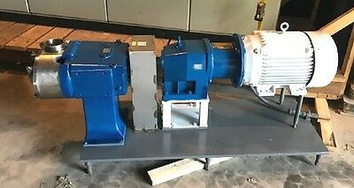 "used Waukesha model 220  4"" Sanitary Rotary Lobe Pump w 25HP motor in NJ"