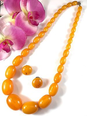 Gorgeous Butterscotch Egg Yolk Bakelite Graduated Bead Necklace Clip Earring Set