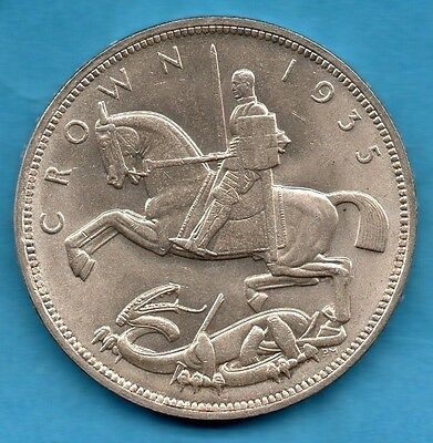 1935 King George V Silver Crown Coin. George & Dragon, Art Deco Influence