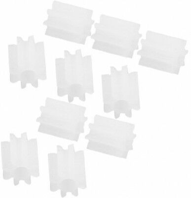 10 Pcs White Plastic 8 Teeth 2mm Shaft Dia DIY RC Toy Model Gears