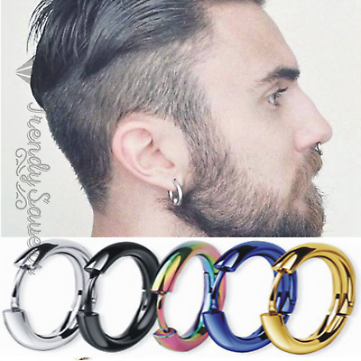 1 x Unisex Huggie Hoop Nose Earrings Jewellery Round Ear Snap Men's Silver Thick
