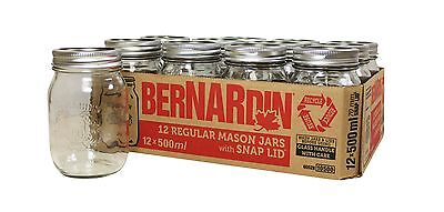Bernardin Regular Mouth 500ml Mason Jars-Box of 12 500ml Clear New
