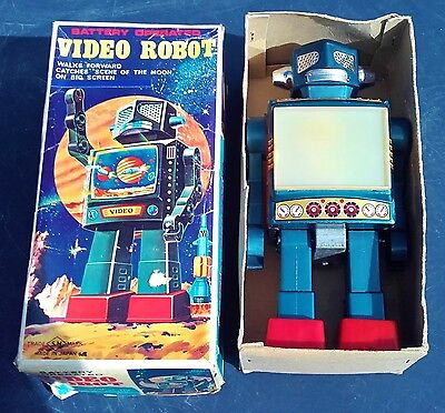 Horikawa Japan Roboter Video Robot OVP Original Box Tin Toy Blechspielzeug Rare