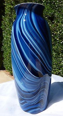 Imperial Lead Lustre Art Glass Vase Cobalt Tall Marbelized Swirl Orange Interior