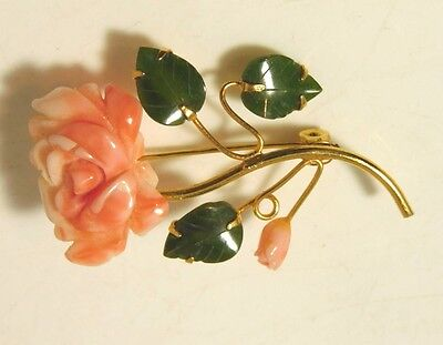 Vtg Carved Angel Skin Coral Jade Rose Flower Swaboda Gold tone Brooch Pin 6b 49