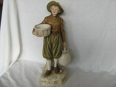 Royal Dux figure Boy holding basket carrying pitcher wearing a hat no. 983