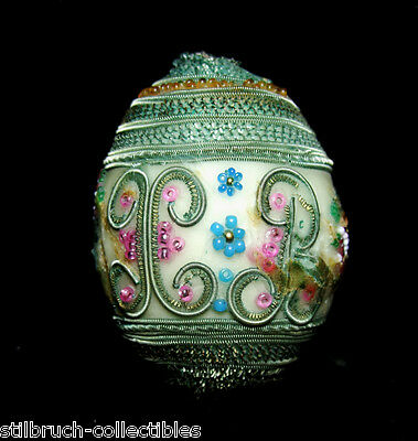 ANTIQUE EASTER REAL EGG 1890s WAX COVERED ORNAMENT MONOGRAM INITIALS HR HB H R B