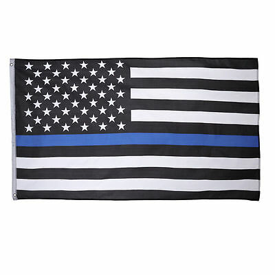 3X5 Police Thin Blue Line USA Memorial Flag 3'x5' House Banner Grommets Premium