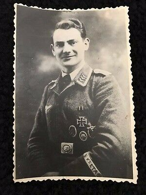 Ww2 German Photo Of German Luftwaffe Officer With  His Awards. Old Reprint