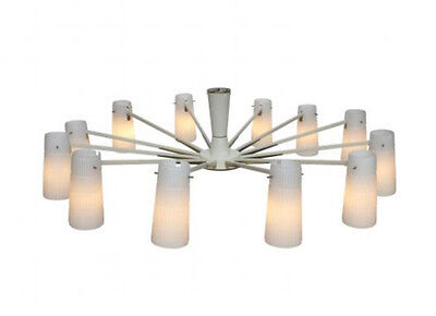 Italian chandelier from white messing & opal glass, 1950ies - Kronleuchter