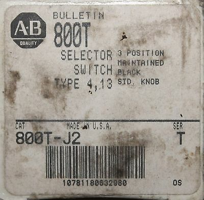 ALLEN BRADLEY 800T-J2 3 Position Maintained Selector Switch 800T J2