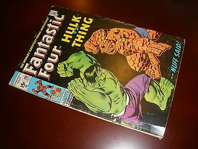 Marvel Comics Fantastic Four # 112 Nice Copy vs Hulk