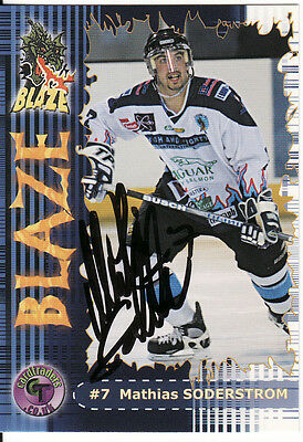 Mathias Soderstrom, Rare Auto'd/signed Card (Coventry Blaze).