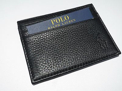New! Ralph Lauren Polo Credit Card / ID Case / Soft Leather Wallet in Black
