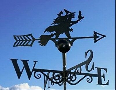Magical Garden Ornament British Made Weathervane Witch&Cat on Broomstick Antique