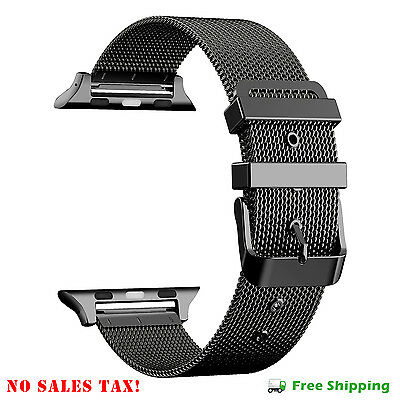 Apple Watch Band 42 mm iWatch Milanese Loop Strap Band Stainless Steel Black New