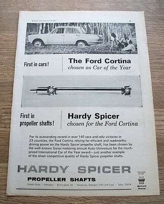 FORD CORTINA Hardy Spicer 1964 CAR ADVERT POSTER - Full Page Original 11 x 8 in