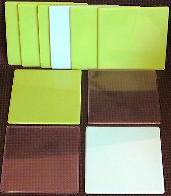 ELLO MEDIUM SIZE SQUARE PANELS x 10. GREEN / BLUE / CLEAR.  UK DISPATCH
