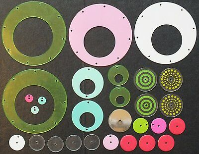 ELLO LARGE, MEDIUM & SMALL CIRCULAR PARTS x 28. MIXED COLOURS.  UK DISPATCH