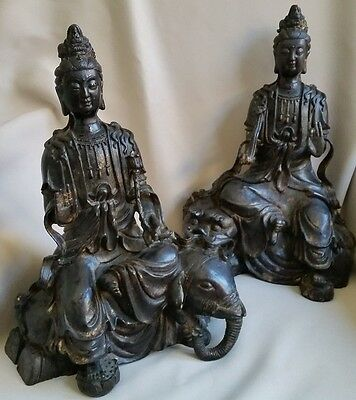 Antique Bronze Chinese statue goddesses Pair of