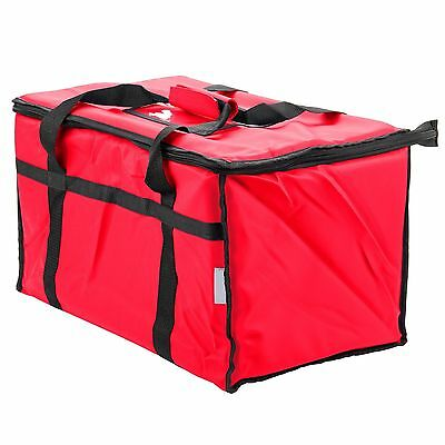 Insulated Nylon Food Delivery Bag Pan Hot Cold Carrier Restaurant Red