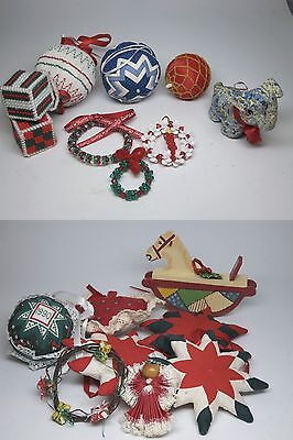 Handmade Quilted Fabric Christmas Ornament Lot Ball 8 Point Star Elephant Wreath