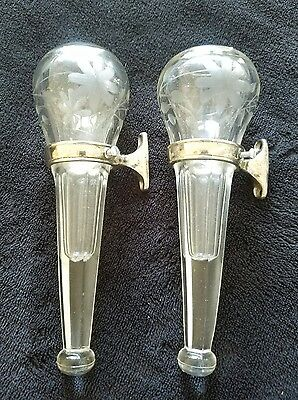 PAIR Etched BENZER Flower Vases 1928 Oakland Car Auto Automobile w Nice Brackets