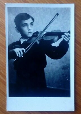 Vintage* Young ( German ? ) boy with a violin and bow. Real photo