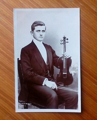 Vintage* Gentleman with Violin and Bow. Photo Telewthwaits Blackpool